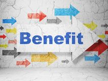 Business concept: arrow with Benefit on grunge wall background. Business concept:  arrow with Benefit on grunge textured concrete wall background, 3D rendering Royalty Free Stock Photography