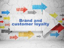 Business concept: arrow with Brand and Customer loyalty on grunge wall background Royalty Free Stock Photography