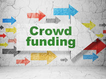 Business concept: arrow with Crowd Funding on. Business concept:  arrow with Crowd Funding on grunge textured concrete wall background, 3d render Royalty Free Stock Photography