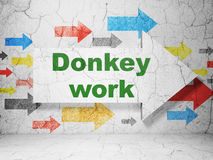 Business concept: arrow with Donkey Work on grunge wall background Royalty Free Stock Photos