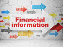 Business concept: arrow with Financial Information on grunge wall background. Business concept:  arrow with Financial Information on grunge textured concrete Stock Image