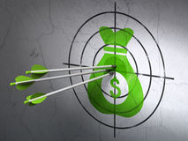 Business concept: arrows in Money Bag target on wall background Royalty Free Stock Photos