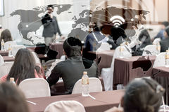 Business concept : asia people listen in business seminar presen. Business globalization connection technology concept : asia people listen in business seminar Stock Photos