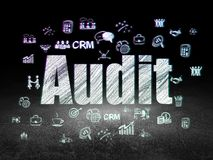 Business concept: audit in grunge dark room. Business concept: Glowing text Audit,  Hand Drawn Business Icons in grunge dark room with Dirty Floor, black Stock Photo