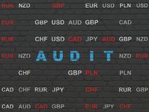 Business concept: Audit on wall background. Business concept: Painted blue text Audit on Black Brick wall background with Currency Royalty Free Stock Image