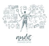Business concept auditing man audit sketch. Business concept, auditing, man standing in front of wall full of charts and notes, vector illustration, sketch Stock Photography