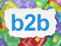 Business concept: B2b on Credit Card background. Business concept: torn paper with words B2b on Credit Card background, 3d render Stock Photo