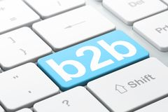 Business concept: B2b on computer keyboard background. Business concept: computer keyboard with word B2b, selected focus on enter button background, 3D rendering Stock Photos