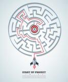 Business concept backgroind. 3d rocket finding a solution, probl. Em solving.vector illustration Stock Photos