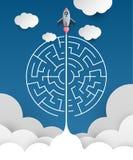 Business concept backgroind. 3d rocket finding a solution, probl. Em solving.vector illustration Royalty Free Stock Image