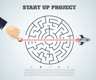 Business concept backgroind. 3d rocket finding a solution, probl Royalty Free Stock Images