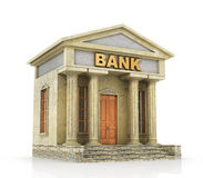Business concept. Bank building isolated on the white. 3d illustration Royalty Free Stock Photos