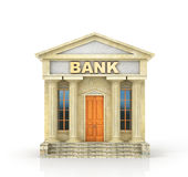 Business concept. Bank building isolated on the white. 3d illustration Royalty Free Stock Photography