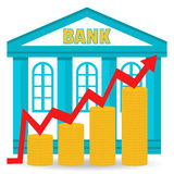 Business concept. Bank deposit growth chart. Income. The building of the bank and coins in stacks. Flat design. Royalty Free Stock Photography