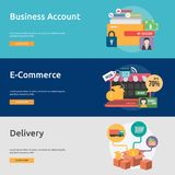 Business Concept Banner Design. Set of great vertical banner flat design illustration concepts for business, marketing, working, idea, event and much more Royalty Free Stock Image