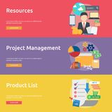 Business Concept Banner Design. Set of great vertical banner flat design illustration concepts for business, marketing, working, idea, event and much more Stock Image