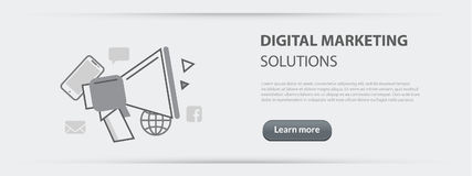Business concept banner of digital marketing solutions company   Stock Images