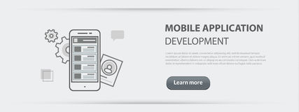 Business concept banner of mobile application development   Stock Image