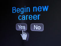 Business concept: Begin New Career on digital. Business concept: buttons yes and no with pixelated word Begin New Career and Hand cursor on digital computer Stock Photography