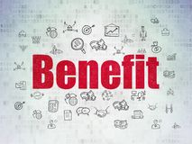 Business concept: Benefit on Digital Data Paper background. Business concept: Painted red text Benefit on Digital Data Paper background with  Hand Drawn Business Stock Images
