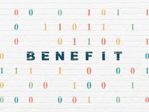 Business concept: Benefit on wall background. Business concept: Painted blue text Benefit on White Brick wall background with Binary Code Royalty Free Stock Photo