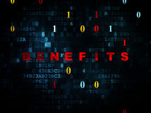 Business concept: Benefits on Digital background. Business concept: Pixelated red text Benefits on Digital wall background with Binary Code, 3d render Royalty Free Stock Image