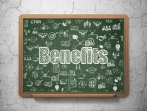 Business concept: Benefits on School board background. Business concept: Chalk White text Benefits on School board background with  Hand Drawn Business Icons, 3D Stock Image