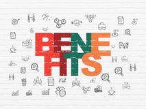 Business concept: Benefits on wall background. Business concept: Painted multicolor text Benefits on White Brick wall background with  Hand Drawn Business Icons Royalty Free Stock Image