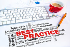Business concept:best practice word cloud. On office scene Royalty Free Stock Images