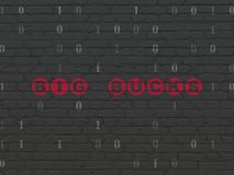 Business concept: Big bucks on wall background. Business concept: Painted red text Big bucks on Black Brick wall background with Binary Code Stock Photo