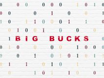 Business concept: Big bucks on wall background. Business concept: Painted red text Big bucks on White Brick wall background with Binary Code Stock Photography