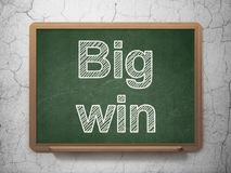 Business concept: Big Win on chalkboard background. Business concept: text Big Win on Green chalkboard on grunge wall background, 3D rendering Royalty Free Stock Photo