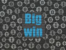 Business concept: Big Win on wall background. Business concept: Painted blue text Big Win on Black Brick wall background with Scheme Of Binary Code Stock Images