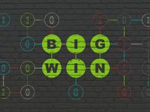Business concept: Big Win on wall background. Business concept: Painted green text Big Win on Black Brick wall background with Binary Code Royalty Free Stock Photo