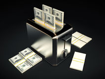 Business concept - $100 bills with toaster. Design made in 3D Stock Images