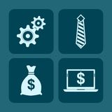Business concept blue background. Four icon, Business concept blue background Royalty Free Stock Photography