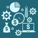 Business concept blue background. Time is money Royalty Free Stock Photos