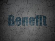 Business concept: Benefit on grunge wall background. Business concept: Blue Benefit on grunge textured concrete wall background Stock Photos