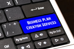 Business Concept - Blue Business Plan Creation Services Button o. N Slim Royalty Free Stock Photos