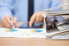 Business concept, blurred businessman  is working with financial Royalty Free Stock Photos