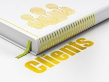 Business concept: book Business People, Clients on white background. Business concept: closed book with Gold Business People icon and text Clients on floor Royalty Free Stock Photos