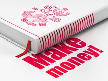 Business concept: book Finance Symbol, Make Money! on white background. Business concept: closed book with Red Finance Symbol icon and text Make Money! on floor Stock Photo