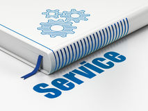 Business concept: book Gears, Service on white Stock Photos