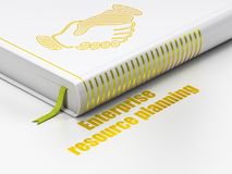 Business concept: book Handshake, Enterprise Resource Planning on white background. Business concept: closed book with Gold Handshake icon and text Enterprise Stock Photos