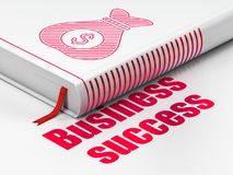 Business concept: book Money Bag, Business Success on white background. Business concept: closed book with Red Money Bag icon and text Business Success on floor Stock Image