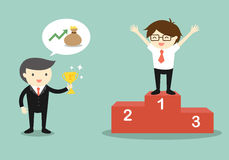 Business concept, Boss give a trophy to businessman. Royalty Free Stock Image