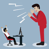 Business concept,Boss shouting in front of poor`s businessman fo. R speed up his job - vector Illustration Stock Photo