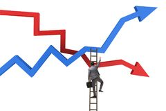 The business concept of both crisis and recovery. Business concept of both crisis and recovery Stock Photo