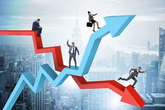 The business concept of both crisis and recovery. Business concept of both crisis and recovery Stock Photography