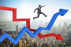 The business concept of both crisis and recovery. Business concept of both crisis and recovery Stock Images